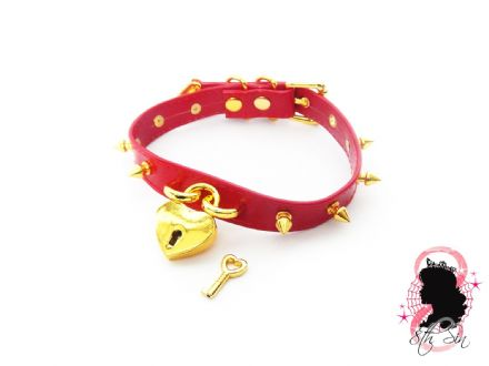 Red and Gold Studded Heart Padlock Choker